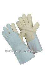cow split leather welding gloves; Cow Grain/Split Gauntlet,welding glove, JS4014CACB