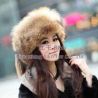 BG11668 Genuine Raccoon Dog Fur Lady Hat with Tails