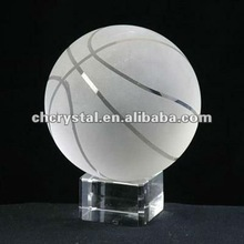 Crystal Basketball paperweight with stand, baseket ball with stand