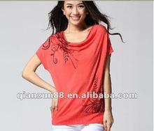 2012 fashion printed ladies loose T-shirts