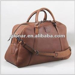 Handmade light brown women genuine leather travel bag
