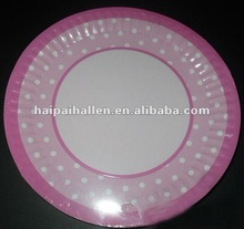 Pink Polka Dots Disposable dessert paper plate for wedding favors