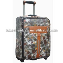 Classic Leather Flower Printed Luggage upright luggage trolley bag suitcase