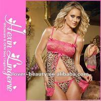 Wholesale Women Sexy Open Front Leopard Babydoll Lingerie Sex with Lace Trim