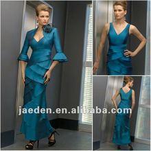 Jm0041 v- Boyun basamaklı karıştırdı Gelinin mavi anne elbise yeni stil