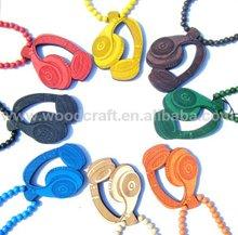 hip hop cheap custom good wood headset necklace