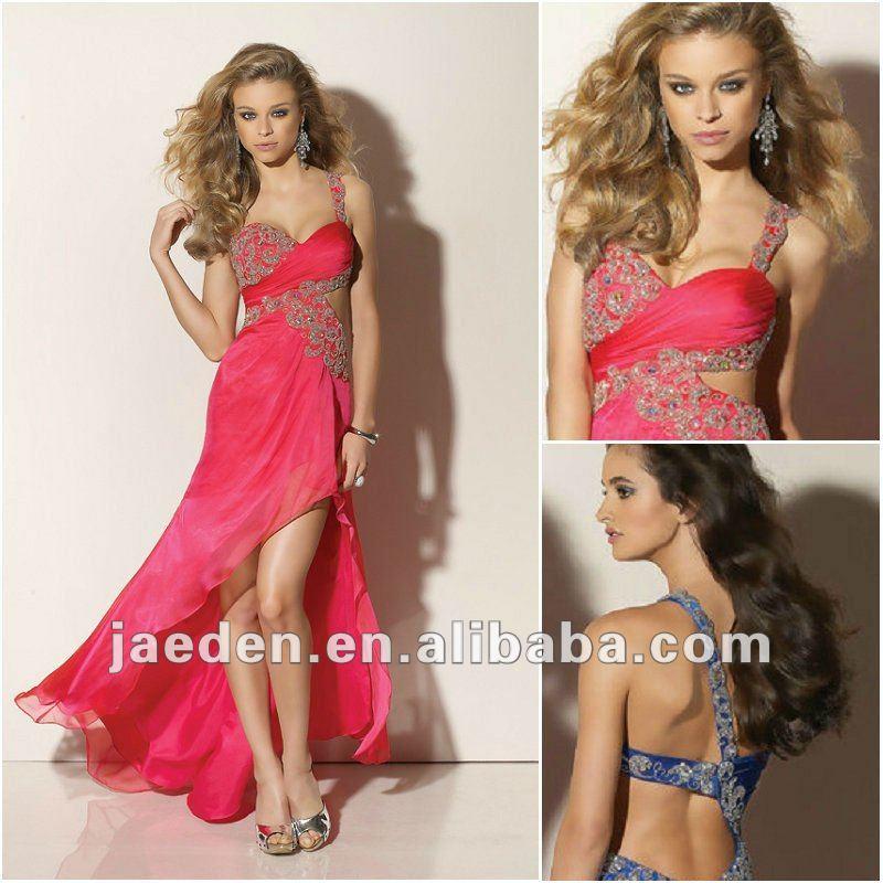 jc0008 cabresto curto frente verso vermelho longo de chiffon vestidos de noite formal