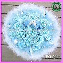 9pcs plush blue dolphin and 16pcs rose artificial flower bouquets