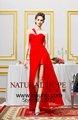 한 shuolder 2014 디자인 빨간색 튜브 섹스 여성 파티 드레스 패션 여성 여름 섹시한 분할 긴 무도회 드레스