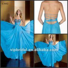 2012 Sky Blue Chiffon Sweetheart Beaded new fashion bohemian evening gown