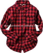 Women cotton flannel plaid shirt