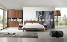 2012 best sold glossy walnut venner pattern bedroom set furniture