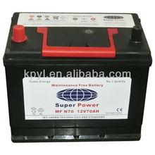 N70(12V70AH) MF auto battery, Janpanese stardard