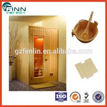 Mini indoor traditional spruce wooden sauna room