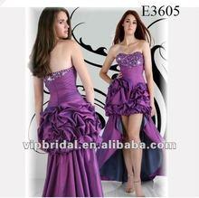2012 Purple Taffeta front short and long back evening dress
