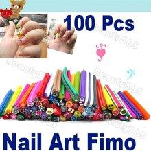 2012 Hot Sale!!! 100pcs Charming Cute Rubber 3D Nail Art Sticker Canes Rods Fruit Fimo