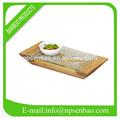 de bambú cuadrados bandeja de alimentos con gafas de