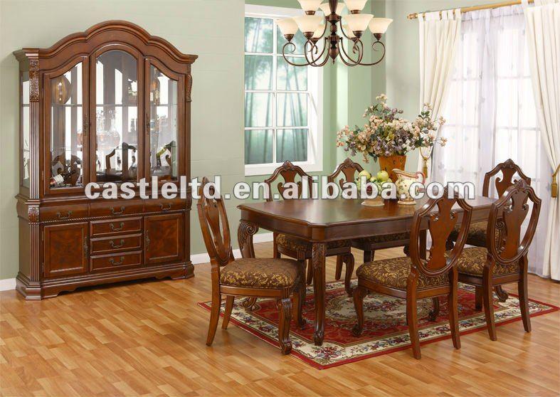 Jogo De Sala De Jantar Em Madeira ~ Mão esculpida em madeira maciça tamanho grande conjunto de jantar