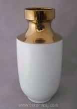 Contemporary white with gold Ceramic Vase WRYKB80