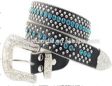 Ladies rhinestone genuine wide leather belt