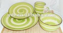 16pc stoneware handpainted with sesame glaze dinnerware set