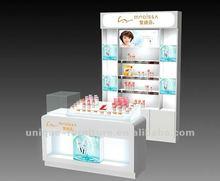 showcase for skin product, makeup vitrine