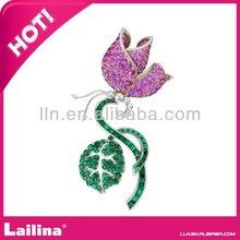 top design rhinestone alloy purple flower brooch for Wedding