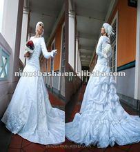 White Feminine A line Skirt with Long Trumpet Sleeves Hot Sell Islamic Muslim Wedding Dress