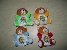 9cm new style 4-colour soft printed plush teddy bear keychain toy