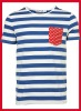 High quality blue and white stripe o neck cotton tees with red start pocket
