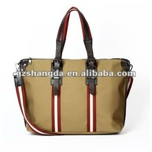 Informal Tan nylon & genuine leather tote bags for women