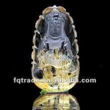 AAA grade nature crystal pendant ,crystal carving ,Titanium crystal Avalokitesvara alone in the world