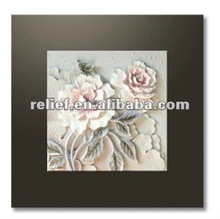 3D pink peony flower relief oil painting