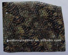 snake embossed genuine leather