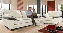 Luxury living room furniture sofa, white and black leather sofa