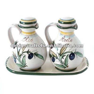 Ceramic Decorative Olive Oil Vinegar Set Restaurant Cruet Set