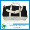 Fashion nylon travel trolley luggage bag wirh leather strap