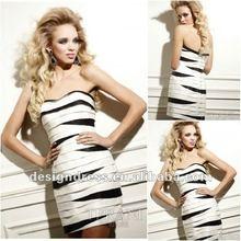 Lady's fashion design dress 2012sexy strapless sweetheart glistening black white style strap short prom dress11021