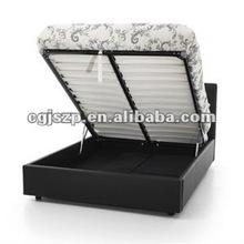 popular modern bedroom furniture wooden frame faux leather bed storage leather bed