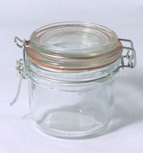 small round clear clip lid airtight glass storage jar