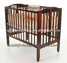 CHILDS PINE WOODEN BABY FOLDING crib