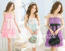 2012 Women Fashion Sexy Sweet Bowknot Layers Petticoat Mini Dress 3689