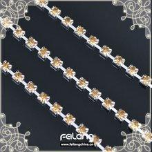 Lt col topaz rhinestone cup chain silver claw,MOQ 50m paypal accepted,sparse chain,rhinestone chain for crown