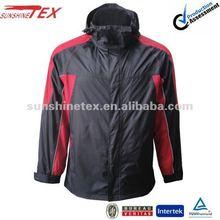 2012 Men's reflective piping winter function 3 in 1 jacket hidden detachable hood