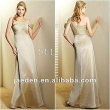 JB0103 One-shoulder design bridesmaid dress gold