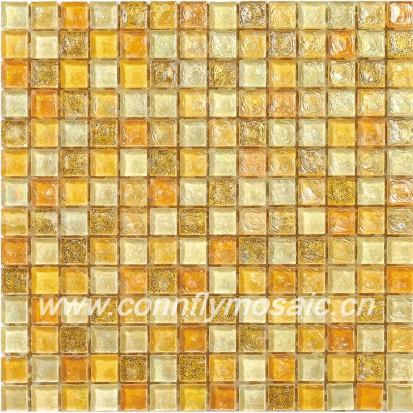 Baños Gresite Amarillo:Brillante arco iris de color amarillo azulejos de mosaico de vidrio