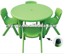 Adorable green cute plastic and metal frame kids furniture table and chair set