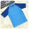 2015 anti-UV Mint color block plain swim t shirt boy