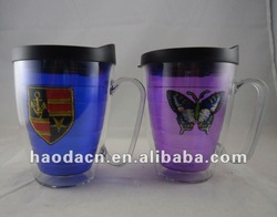 New 450ml Double Wall Acrylic Cup With Embroidery Logo