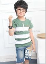 2012 Wholesale, children korean style T shirt, cross strip boy's short t shirt children garment boys summer wear